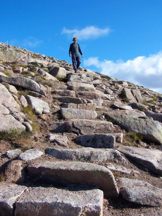 Stone pitching in the Cairngorms